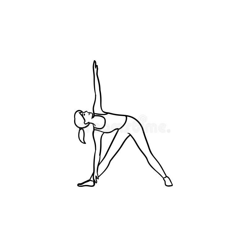 Femme dans l'icône tirée par la main de griffonnage d'ensemble de pose de triangle de yoga illustration stock