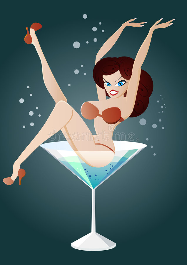 Femme dans l'illustration de martini illustration stock