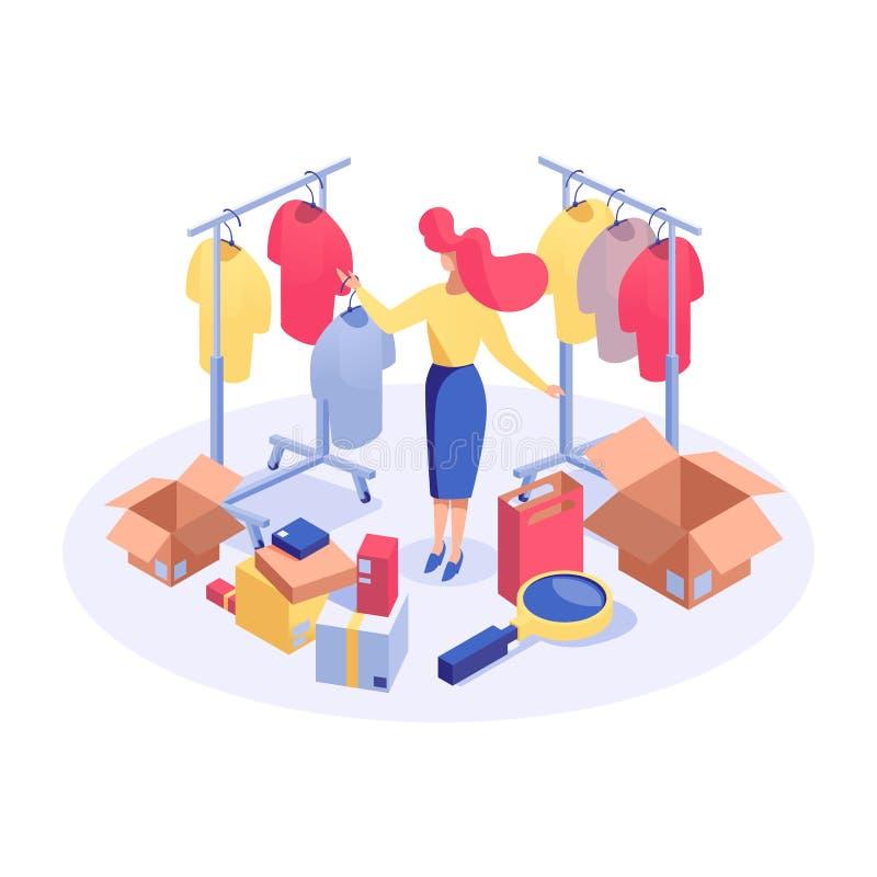 Femme dans l'illustration isométrique de boutique de vêtements Acheteur féminin recherchant le meilleur prix, choisissant des pro illustration libre de droits