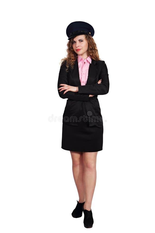Femme dans l'uniforme d'un pilote d'avion images stock