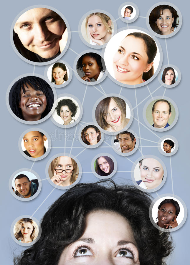 Femme dans la gestion de réseau du social 30s illustration libre de droits