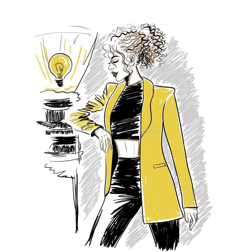 Femme dans la guêpe avec les cheveux onduleux illustration libre de droits