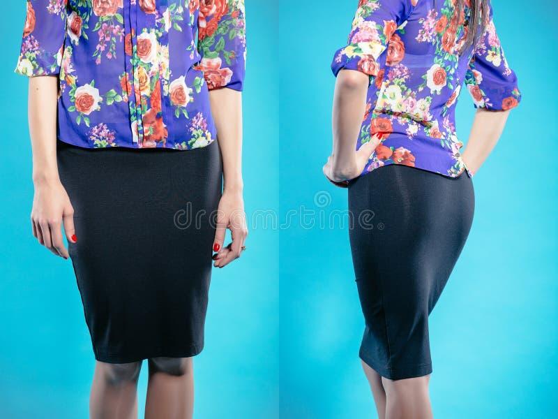 Femme dans la jupe bleu-foncé images stock
