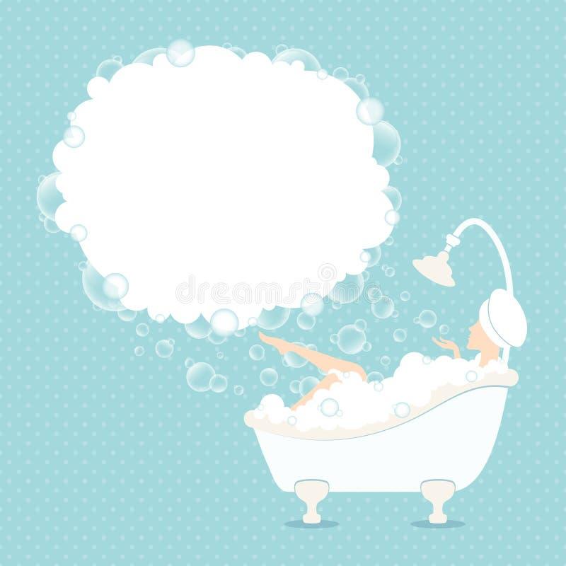 Femme dans la mousse Dots Blue de bulle de la parole de baignoire illustration de vecteur