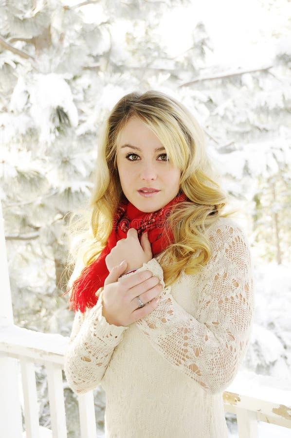 Femme dans la neige image libre de droits