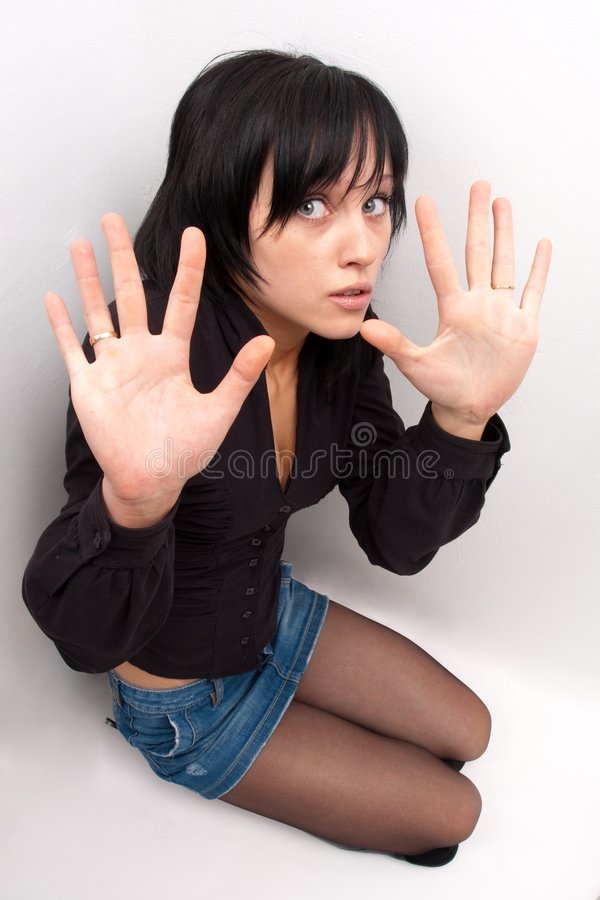 Femme dans la panique images libres de droits