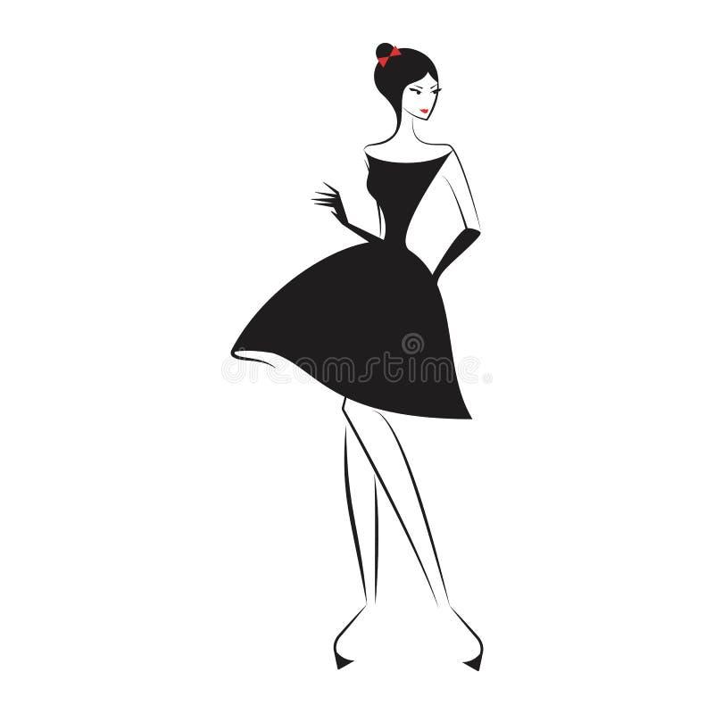 Femme dans la peu de robe noire illustration stock