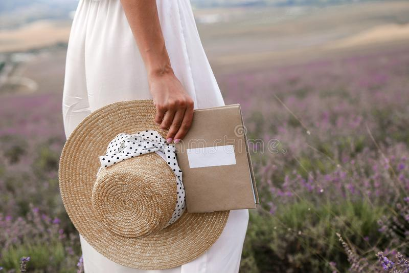 Femme dans la robe élégante et le chapeau de paille blancs posant en La de la Provence images libres de droits