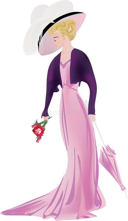 Femme dans la robe classique avec les fleurs et le parapluie illustration stock