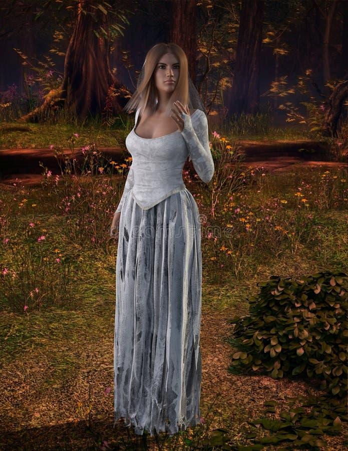 Femme dans la robe déchirée 3D, CG. illustration libre de droits