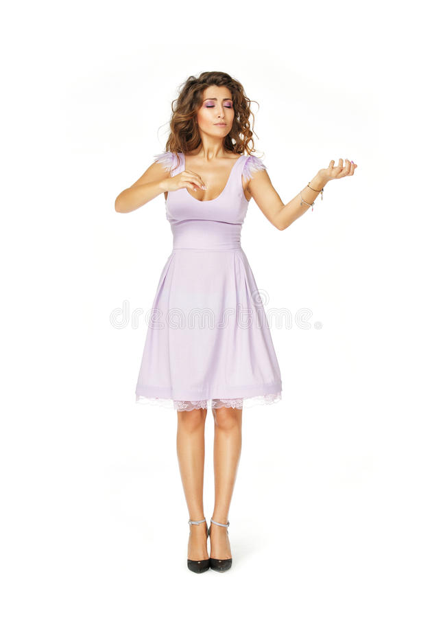Femme dans la robe rose photo stock
