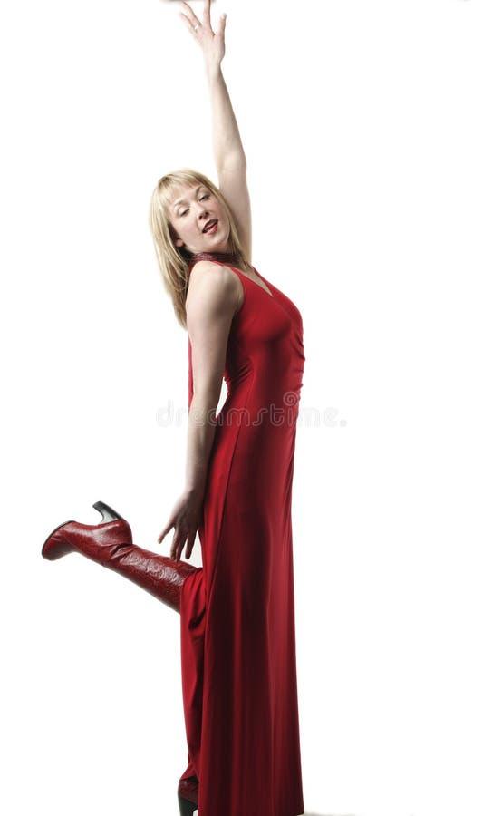 Femme dans la robe rouge photo libre de droits
