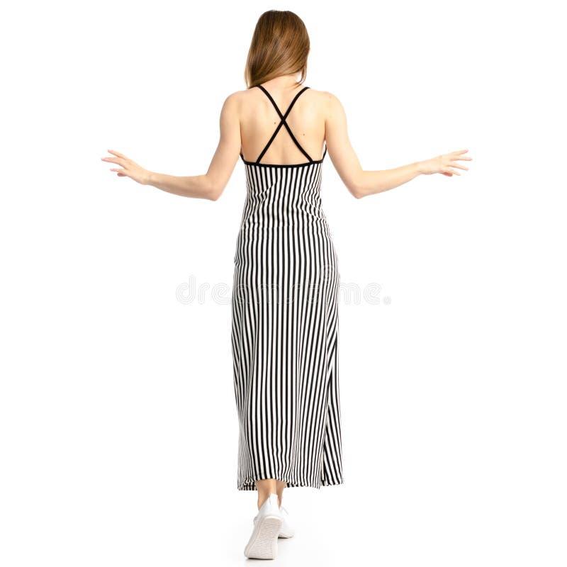 Femme dans la robe sur les chaussettes image stock