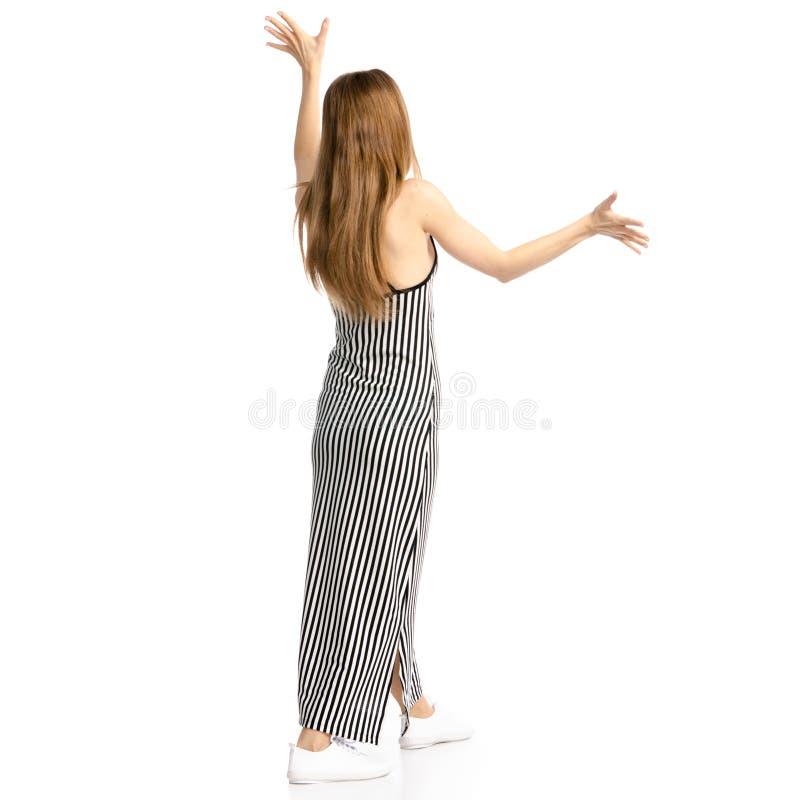 Femme dans la surprise de robe image stock