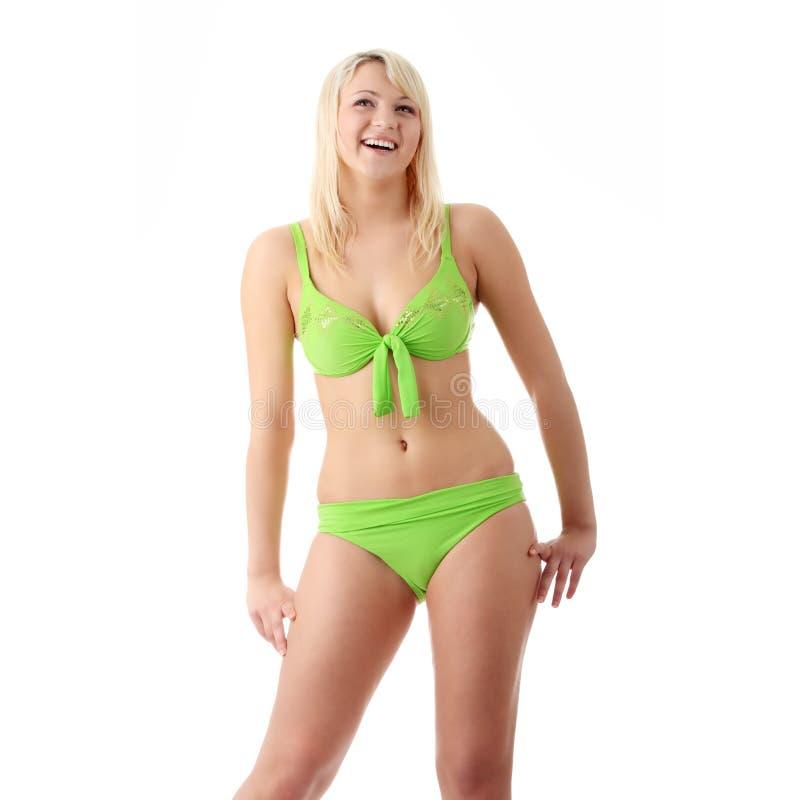 Femme dans le bikini vert photographie stock