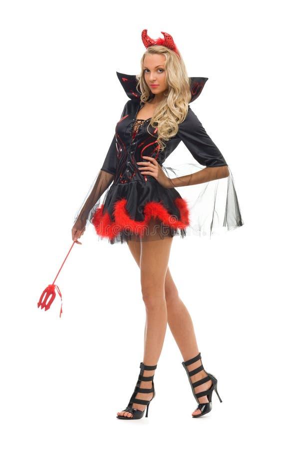 Femme dans le costume de carnaval. Forme de diable images stock