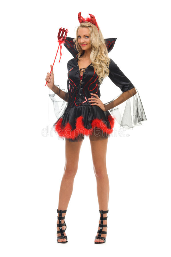 Femme dans le costume de carnaval. Forme de diable photos libres de droits