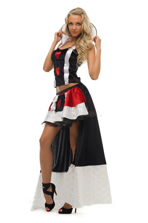 Femme dans le costume de carnaval. Forme de reine de carte photos libres de droits