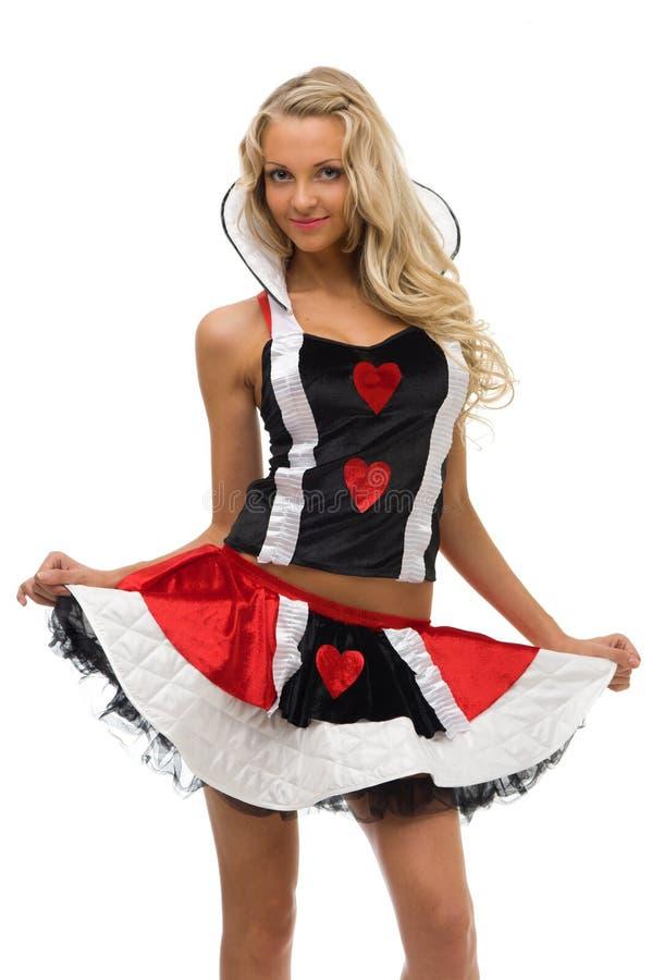 Femme dans le costume de carnaval. Forme de reine de carte images stock
