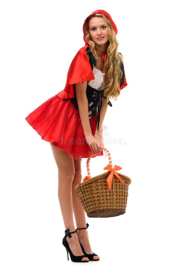 Femme dans le costume de carnaval. Peu de capot d'équitation rouge photos libres de droits