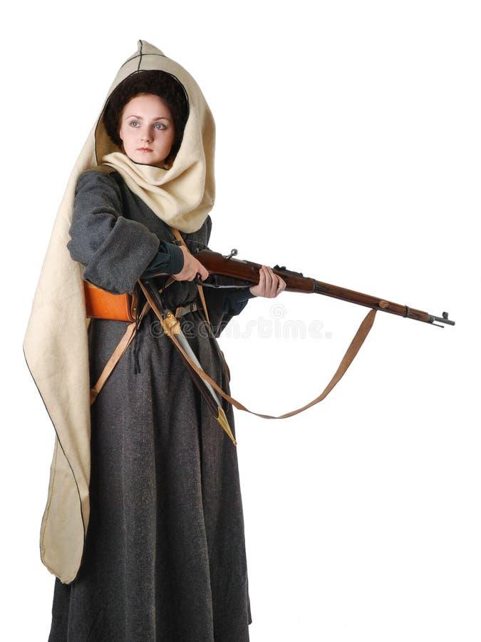 Femme dans le costume de cru du Cosaque russe photographie stock
