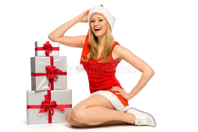 Femme dans le costume de Santa images libres de droits