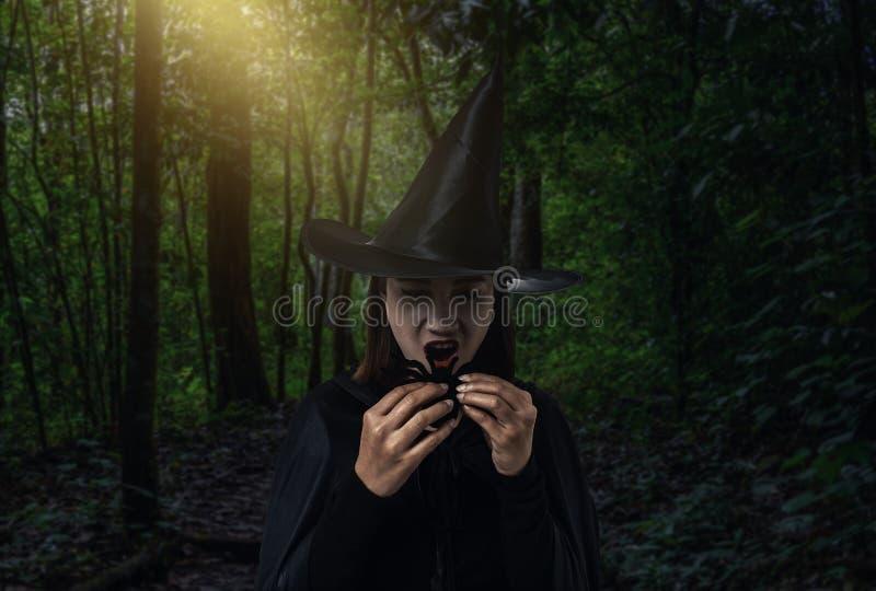 Femme dans le costume effrayant noir de Halloween de sorcière tenant le spide noir photos libres de droits