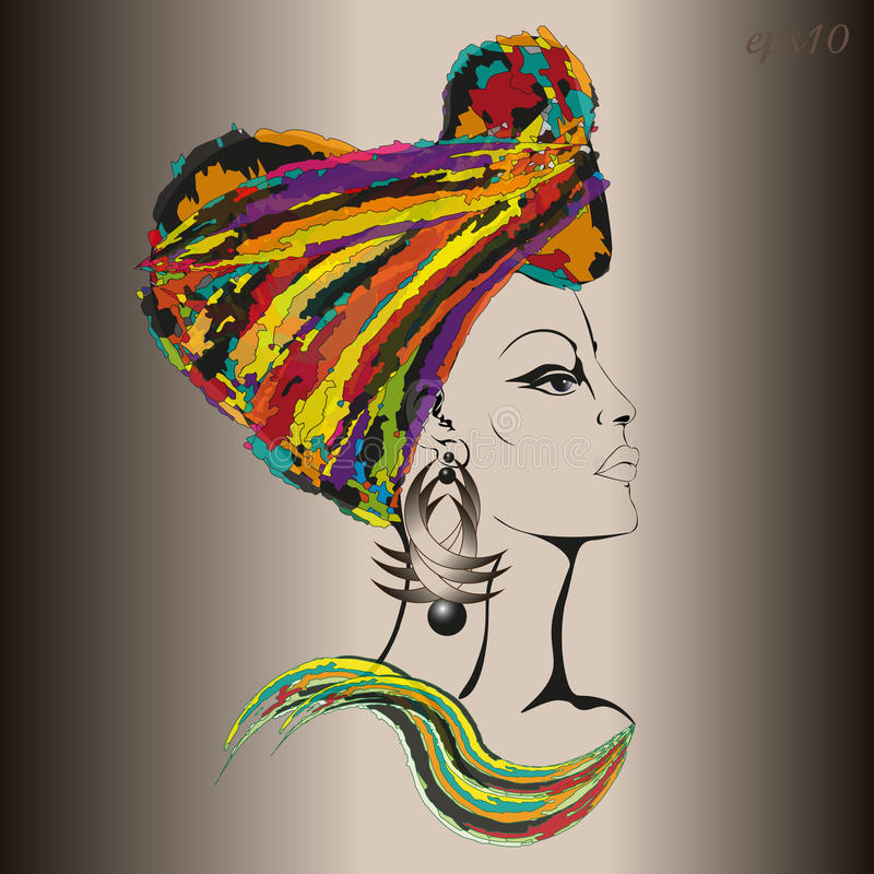 Femme dans le couvre-chef d'ethno illustration stock