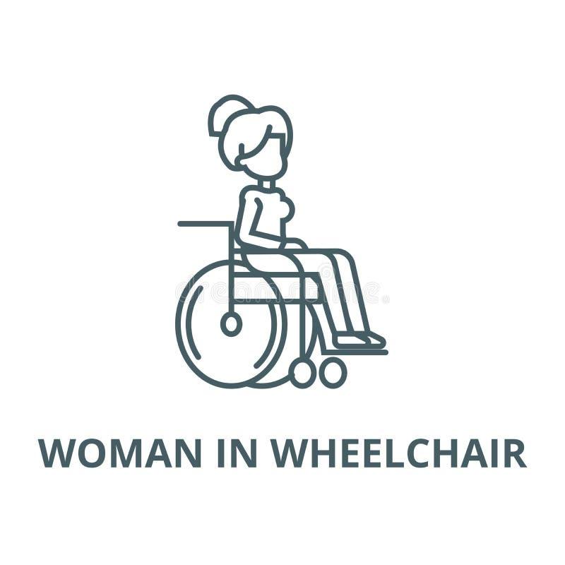 Femme dans le fauteuil roulant pour la ligne icône, concept linéaire, signe d'ensemble, symbole de vecteur de handicapés illustration de vecteur