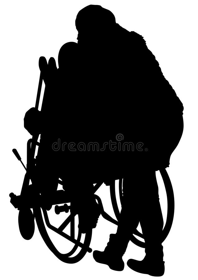 Femme dans le fauteuil roulant quatre illustration de vecteur