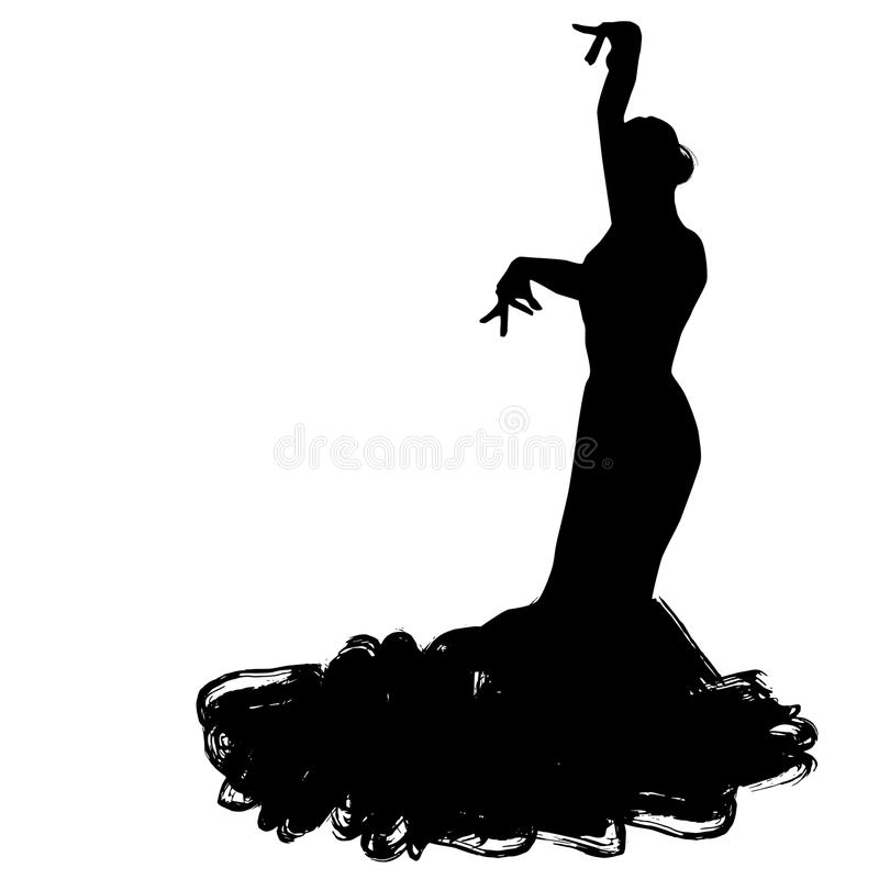 Femme dans le long séjour de robe dans la pose de danse régions de Spanish de danseur de flamenco de l'Andalousie, Estrémadure Mu illustration de vecteur