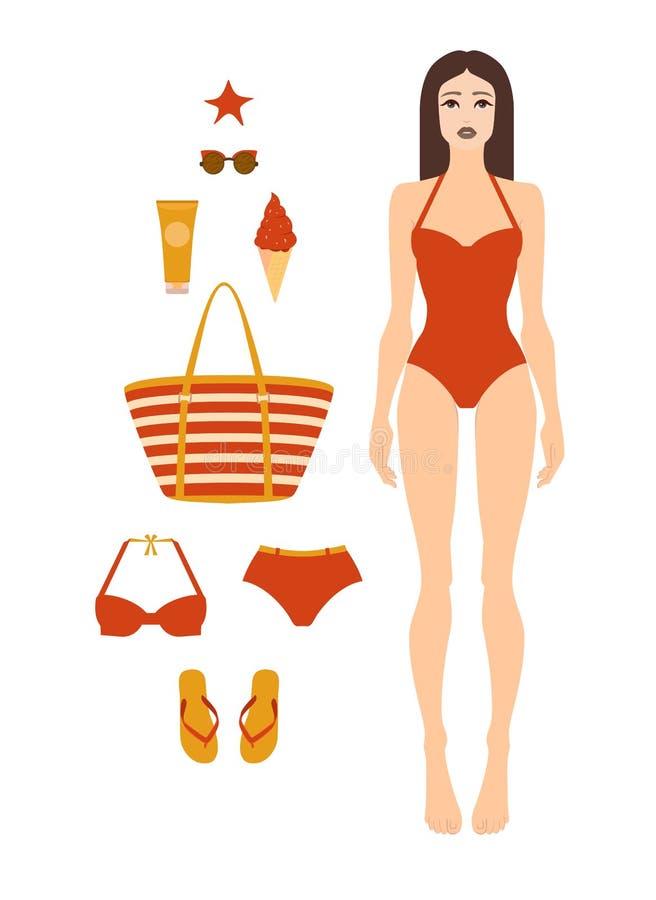Femme dans le maillot de bain Pleine forme femelle de corps, vue de face Ensemble d'accessoires de plage Style plat Illustration  illustration stock