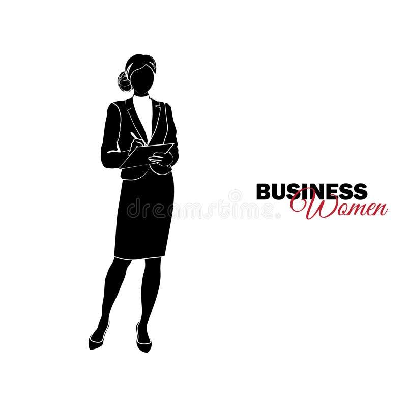 Femme dans le procès d'affaires La femme d'affaires écrit des notes sur le comprimé illustration de vecteur
