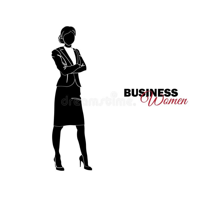 Femme dans le procès d'affaires La femme d'affaires a plié ses bras à travers son coffre illustration libre de droits