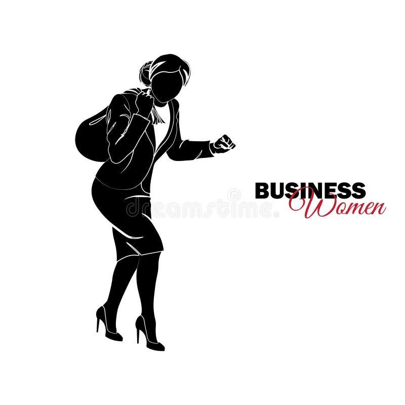 Femme dans le procès d'affaires La femme d'affaires vole avec un sac sur elle de retour illustration stock