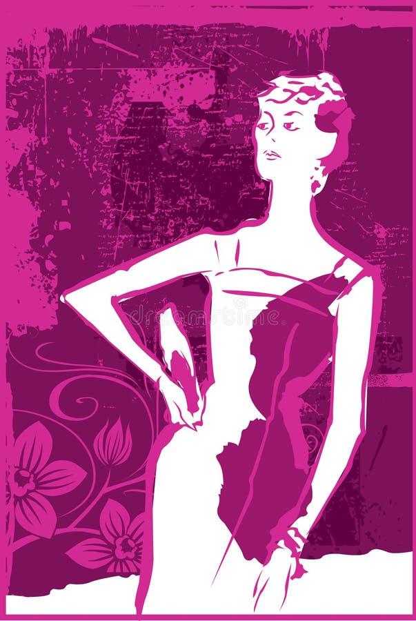 Femme dans le rose électrique illustration libre de droits