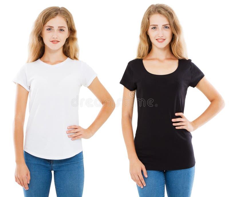 Femme dans le T-shirt blanc et noir d'isolement sur le fond blanc, le T-shirt réglé, la conception de T-shirt et le concept de pe photographie stock
