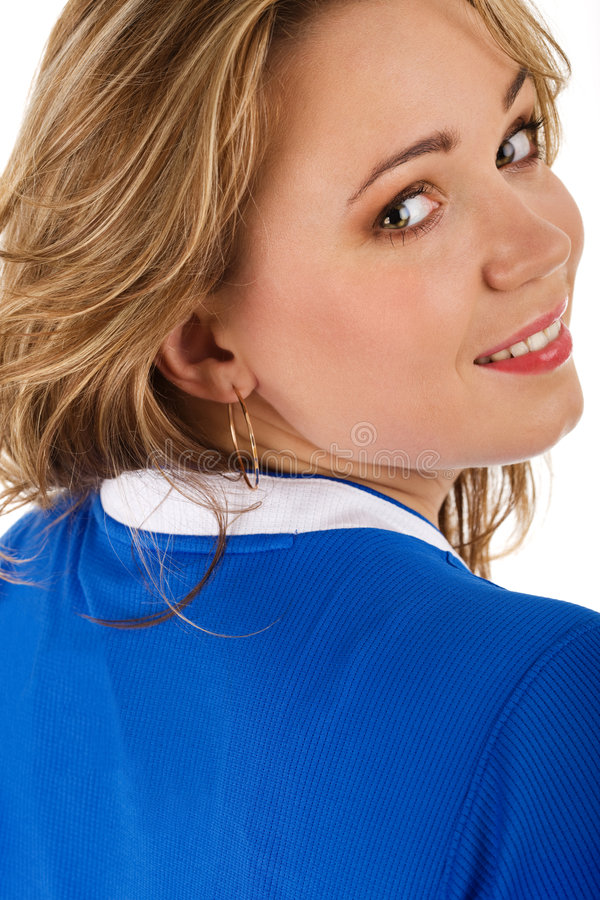 Femme dans le T-shirt bleu images stock