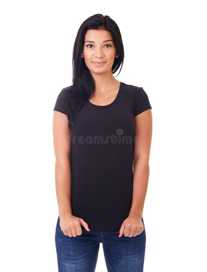 Femme dans le T-shirt noir photographie stock libre de droits