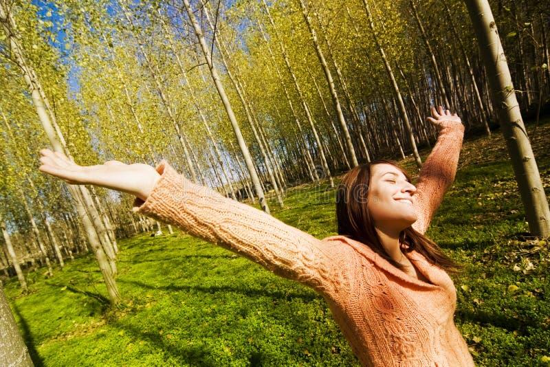 Femme dans les bois images stock