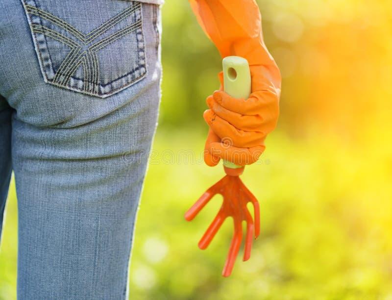Femme dans les gants oranges fonctionnant dans le jardin photo stock