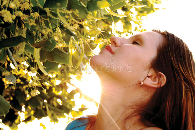 Femme dans les rayons d'un soleil photographie stock