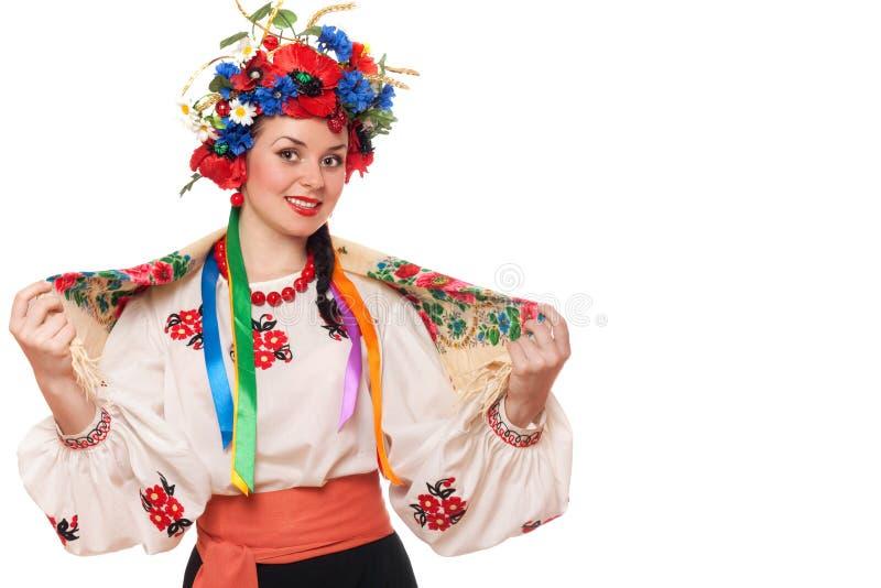 Femme dans les vêtements nationaux ukrainiens image libre de droits