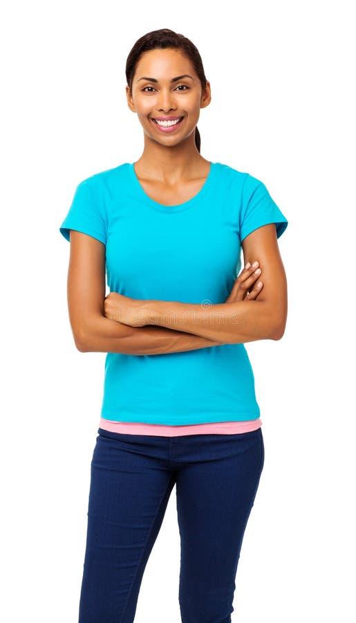 Femme dans les vêtements sport tenant des bras croisés images libres de droits