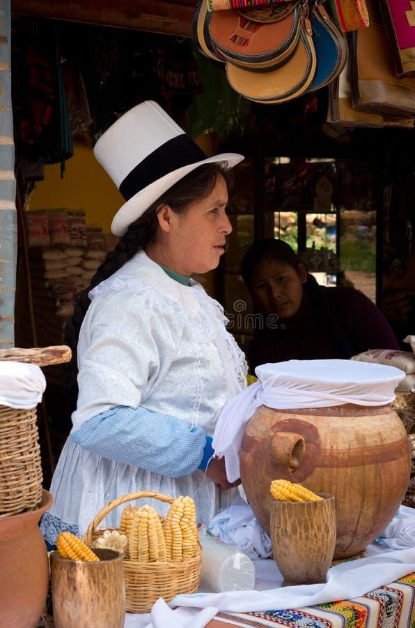 Femme dans Maras, Cuzco, Pérou image libre de droits