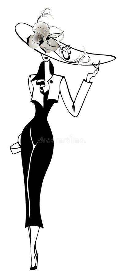 femme dans un chapeau illustration libre de droits