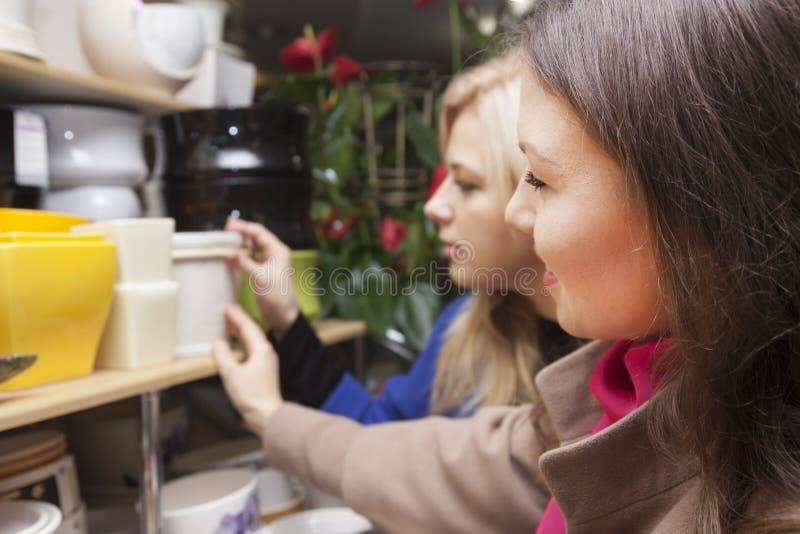 Femme dans un fleuriste images stock