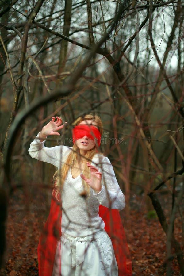 Femme dans une forêt photographie stock libre de droits
