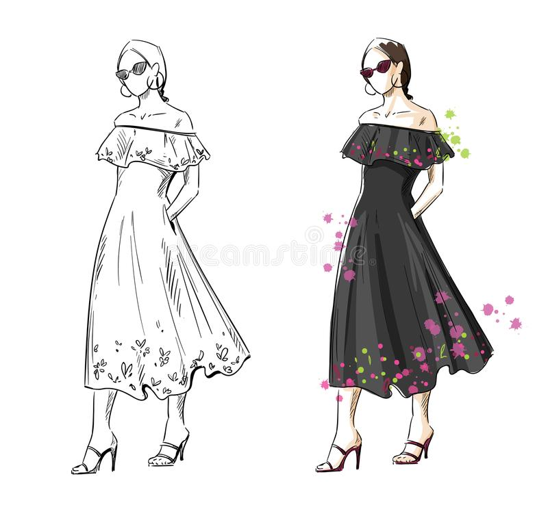 Femme dans une robe noire d'été, illustration de mode de vecteur illustration stock