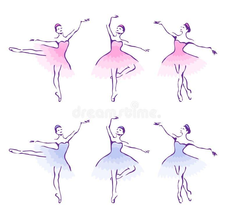 Femme-danseurs de ballet. illustration de vecteur